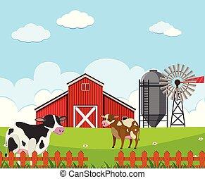 A beautiful farm landscape