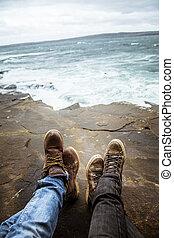 A beautiful feet selfie at the coast of Atlantic ocean in Ireland.