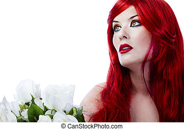 A beautiful fiery red haired woman with white rose. Spring concept