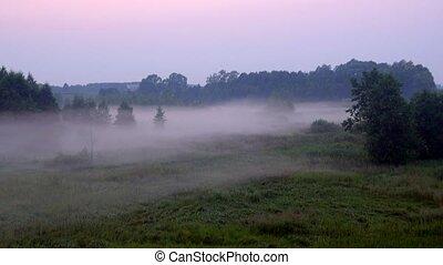 a beautiful fog shrouds the land in twilight - a beautiful...