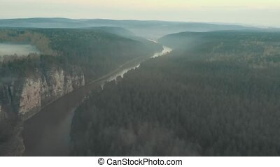 A beautiful foggy landscape of the river and spruce forest...