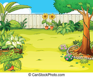 Illustration of a beautiful garden and various plants