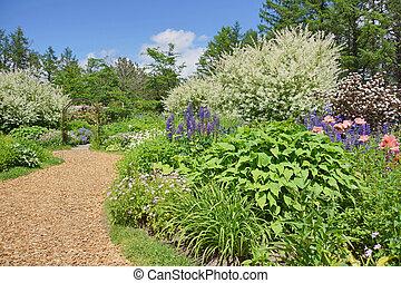a beautiful garden in early summer