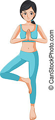 A beautiful girl doing yoga - Illustration of a beautiful...