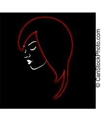 A beautiful girl in a red glowing h