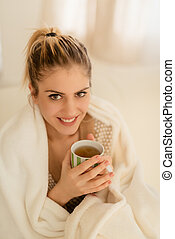 A Beautiful Girl With A Cup Of Tea
