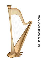 A Beautiful Golden Harp on White Ba