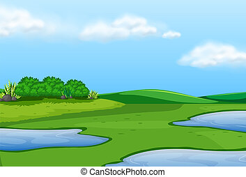 A beautiful green landscape