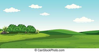 A beautiful greenery scenery illustration