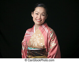 A Beautiful japanese kimono woman in black background
