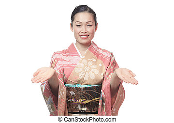A Beautiful japanese kimono woman in white background