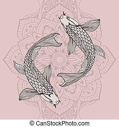beautiful koi carp fish illustration in monochrome. Symbol of love, friendship and prosperity