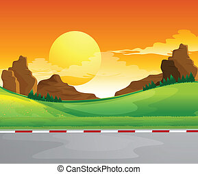 A beautiful landscape and the bright sun in the sky