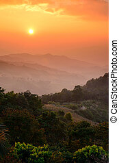 A Beautiful landscape in the mountains with the sunset