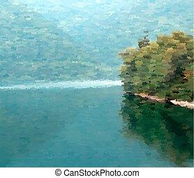 A beautiful landscape near a lake in pointillism style.
