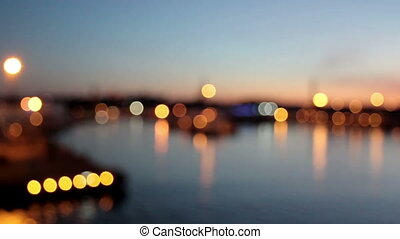 A beautiful landscape view of a city and a bright Lights in the Harbor
