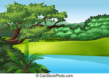 A beautiful landscape with a pond - Illustration of a...
