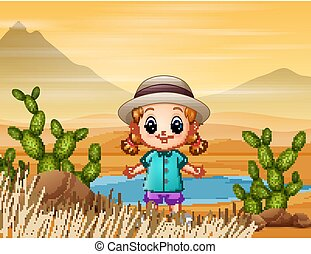 A beautiful little girl in the middle of the desert