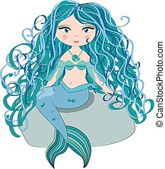 A beautiful little mermaid is sitting on a rock. Siren. Sea theme. illustration on a white background.