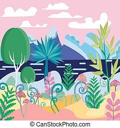 A beautiful magic forest scene illustration