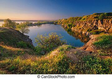 A beautiful magical lake on a summer morning at dawn I