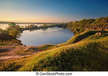 A beautiful magical lake on a summer morning at dawn II