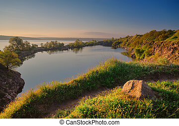A beautiful magical lake on a summer morning at dawn III