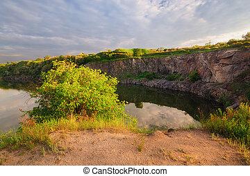 A beautiful magical lake on a summer morning at dawn IX