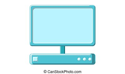A beautiful medical computer with a digital monitor. A modern medical device for ultrasound imaging research on a white background. Vector illustration