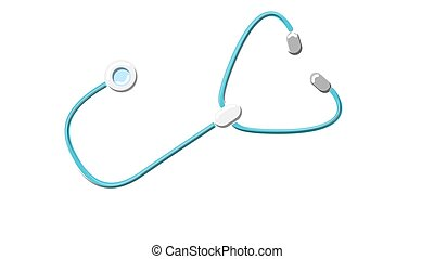 A beautiful medical instrument physician therapist stethoscope, phonendoscope for listening to the lungs and heart of a patient with headphones on a white background. Vector illustration