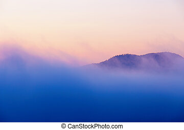 A beautiful morning landscape with fog.