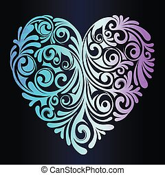 A beautiful neon heart - an idea for a romantic greeting card