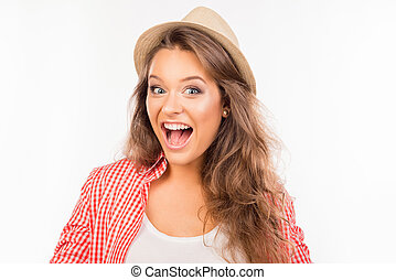 A beautiful nice girl with surprised expression of her face