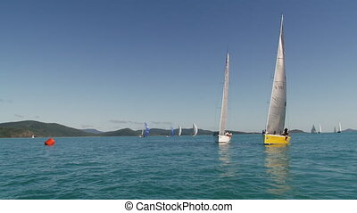 A beautiful ocean and sailboats