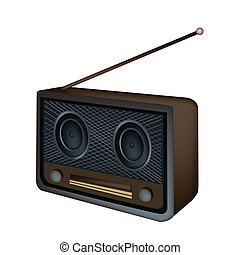 A Beautiful Old Radio on White Background