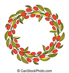 A Beautiful Olive Wreath or Olive Crown with Red Fruit