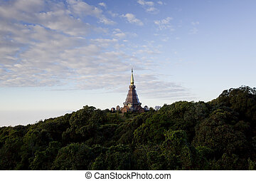 A beautiful pagoda on top of the mountain, Thailand.