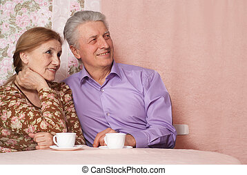 A beautiful pair of pensioner people sitting together on a...