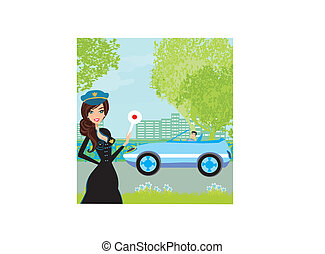 A beautiful police woman stops auto