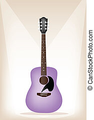 A Beautiful Purple Guitar on Brown Stage Background - Music...
