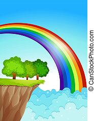 A beautiful rainbow in the sky