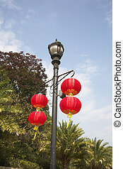 A beautiful red lanterns in the Chinese style