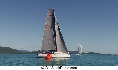 A beautiful sailboat shot - A shot of a sailboat in the...