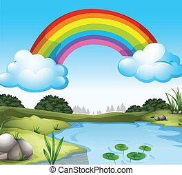 A beautiful scenery with a rainbow in the sky