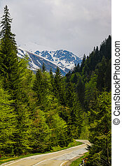 A beautiful scenic road high in the mountains in Romania. Nature background, selective focus.