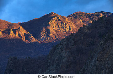 sunrise on a mountain slope
