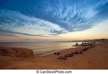a beautiful sunset in sharm el sheikh, egypt