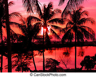 A beautiful sunset on the beach in Thailand with red sky.