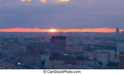 A beautiful sunset over Moscow.Timelapse.