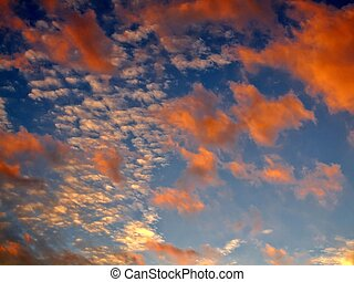 A beautiful sunset sky two layers of clouds